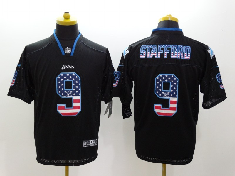 Detroit Lions 9 Stafford USA Flag Fashion Black Nike Elite Jerseys