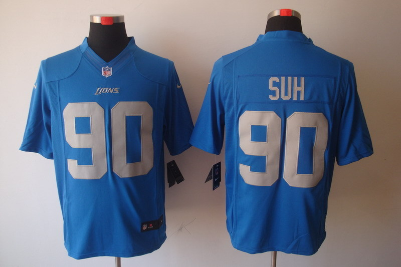 Detroit Lions 90 Suh Blue Nike Limited Jerseys
