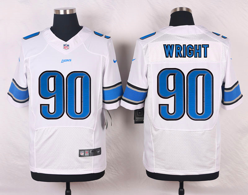 NFL Customize Detroit Lions 90 wright White 2015 Nike Elite Jersey
