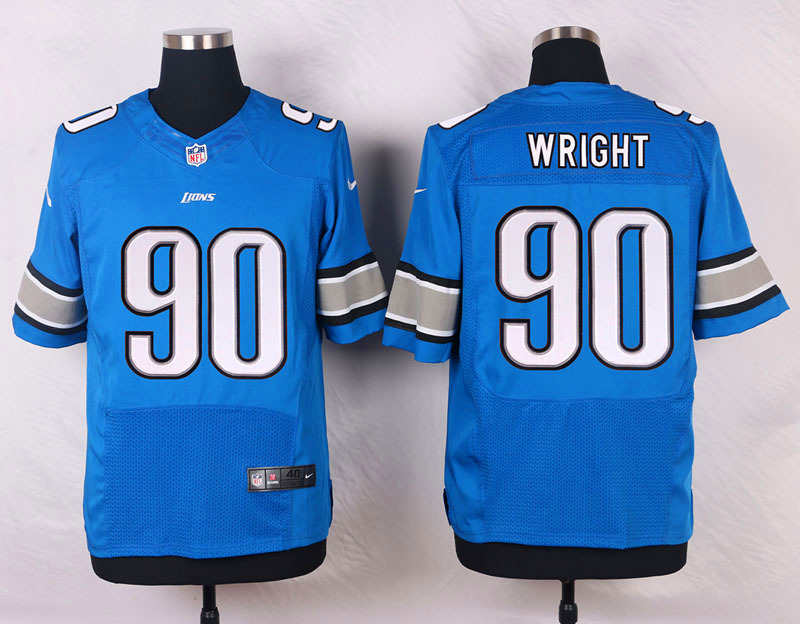 NFL Customize Detroit Lions 90 wright blue 2015 Nike Elite Jersey