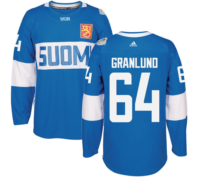 Finland Hockey 64 Mikael Granlund Mens Blue World Cup of Hockey 2016 adidas Stitched Jersey