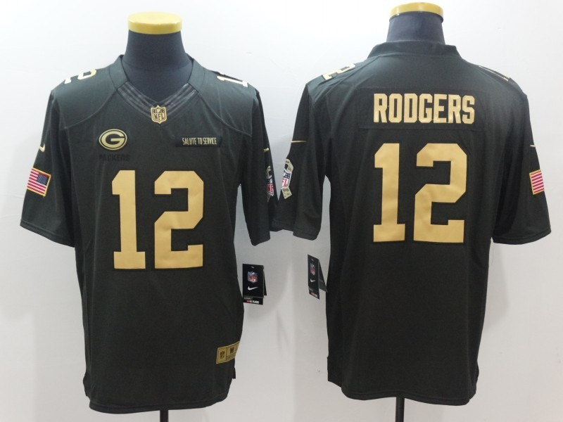 Green Bay Packers 12 Aaron Rodgers Green Nike 2016 christmas gold edition jersey