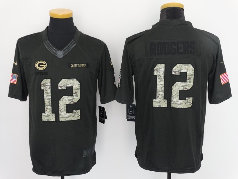 Green Bay Packers 12 Rodgers 2016 Nike Anthracite Salute to Service Limited Jersey