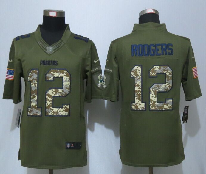 Green Bay Packers 12 Rodgers Green New Nike Salute To Service Limited Jersey