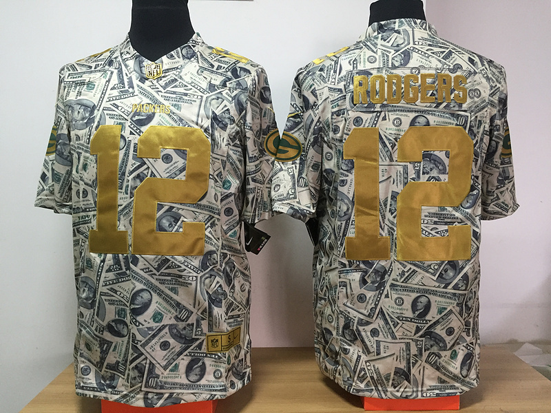 Green Bay Packers 12 Rodgers Nike USD fashion Edition Jerseys