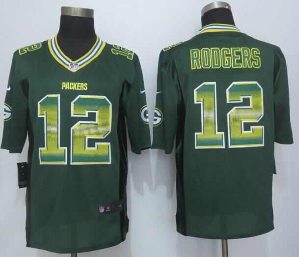 Green Bay Packers 12 Rodgers Pro Line Green Fashion Strobe 2015 New Nike Jersey