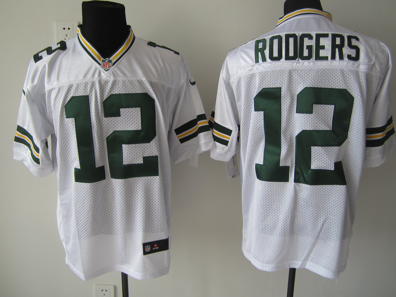 Green Bay Packers 12 Rodgers White Nike Elite Jersey