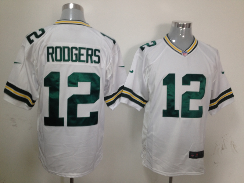 Green Bay Packers 12 Rodgers White Nike Game Jersey