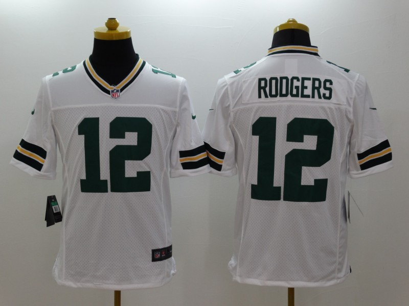 Green Bay Packers 12 Rodgers White Nike Limited Jerseys