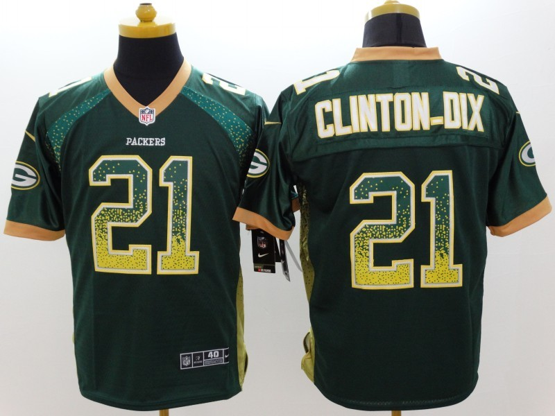 Green Bay Packers 21 Clinton Dix Drift Fashion Green Nike Elite Jerseys