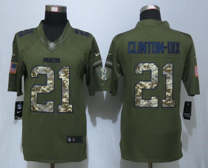 Green Bay Packers 21 Clinton-Dix Green New Nike Salute To Service Limited Jersey.