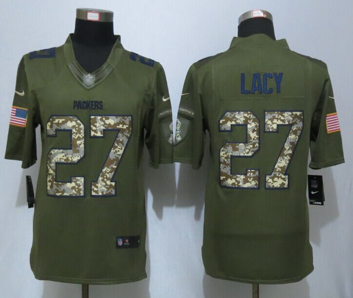 Green Bay Packers 27 Lacy Green New Nike Salute To Service Limited Jersey