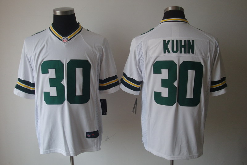 Green Bay Packers 30 John Kuhn White Nike Game Jerseys.