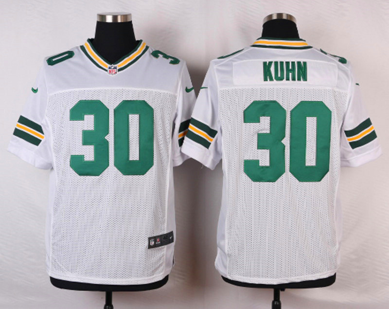 NFL Customize Green Bay Packers 30 Kuhn White Men Nike Elite Jerseys