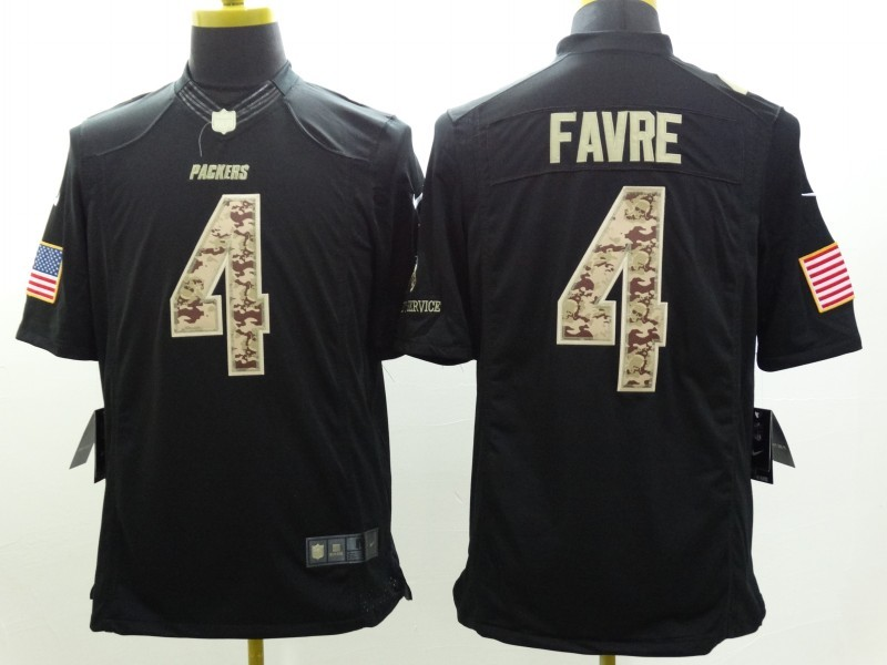 Green Bay Packers 4 Favre Black Nike Salute TO Service Jerseys.