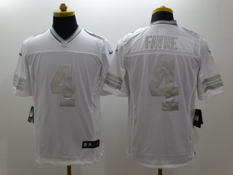 Green Bay Packers 4 Favre Platinum White Nike Limited Jerseys