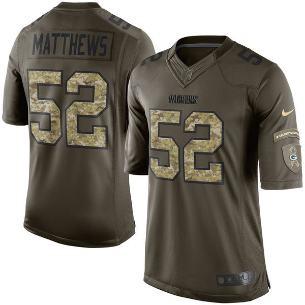 Green Bay Packers 52 Matthews Army green 2015 Nike Salute To Service