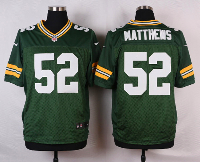 NFL Customize Green Bay Packers 52 Matthews Green 2015 Nike Elite Jersey