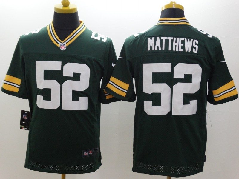 Green Bay Packers 52 Matthews Green Nike Limited Jerseys