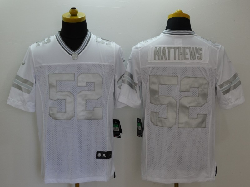 Green Bay Packers 52 Matthews Platinum White Nike Limited Jerseys