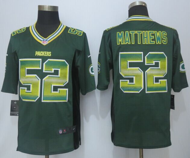Green Bay Packers 52 Matthews Pro Line Green Fashion Strobe 2015 New Nike Jersey
