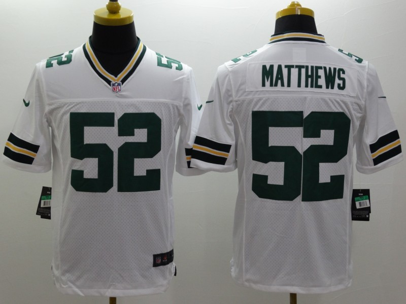 Green Bay Packers 52 Matthews White Nike Limited Jerseys