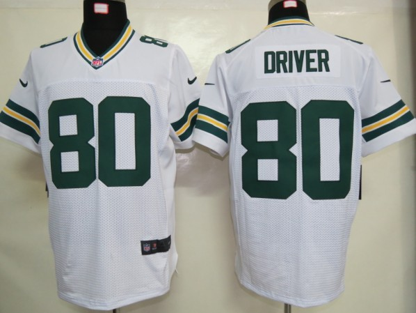 Green Bay Packers 80 Driver White Nike Elite Jersey