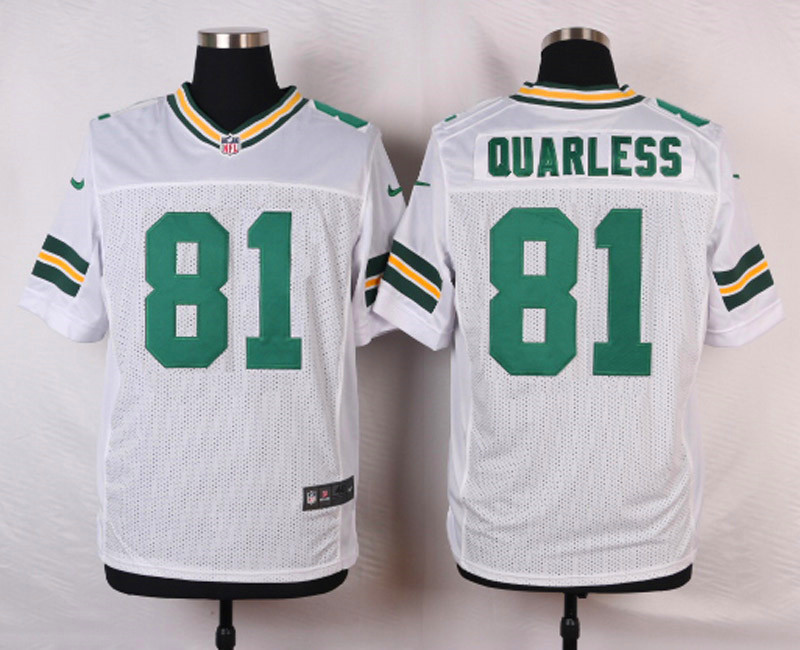 NFL Customize Green Bay Packers 81 Quarless White Men Nike Elite Jerseys