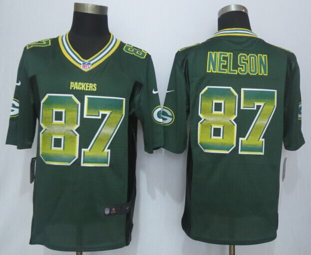 Green Bay Packers 87 Nelson Pro Line Green Fashion Strobe 2015 New Nike Jersey