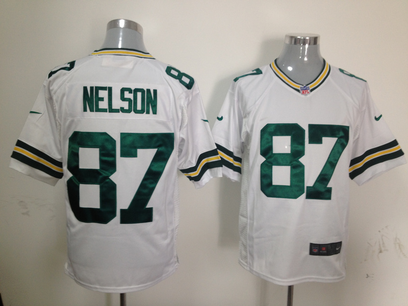 Green Bay Packers 87 Nelson White Nike Game Jersey