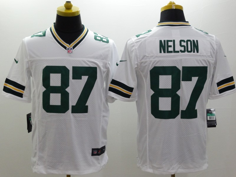 Green Bay Packers 87 Nelson White Nike Limited Jerseys