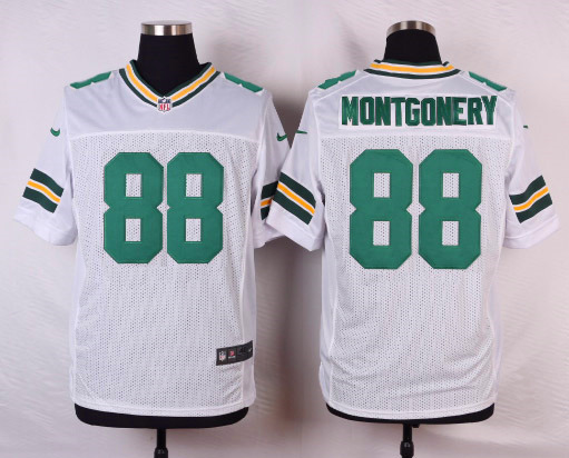 NFL Customize Green Bay Packers 88 Montgonery White Men Nike Elite Jerseys