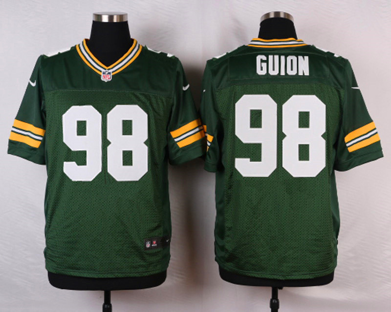 NFL Customize Green Bay Packers 98 Guion Green Men Nike Elite Jerseys