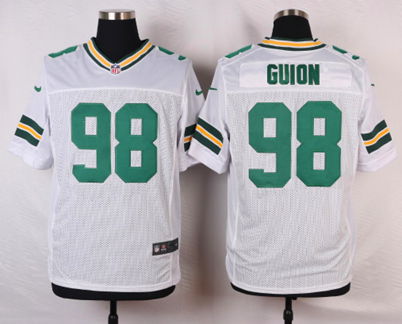 NFL Customize Green Bay Packers 98 Guion White Men Nike Elite Jerseys