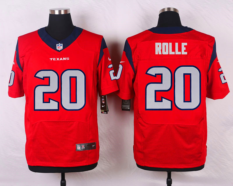NFL Customize Houston Texans 20 Rolle Red Men Nike Elite Jerseys