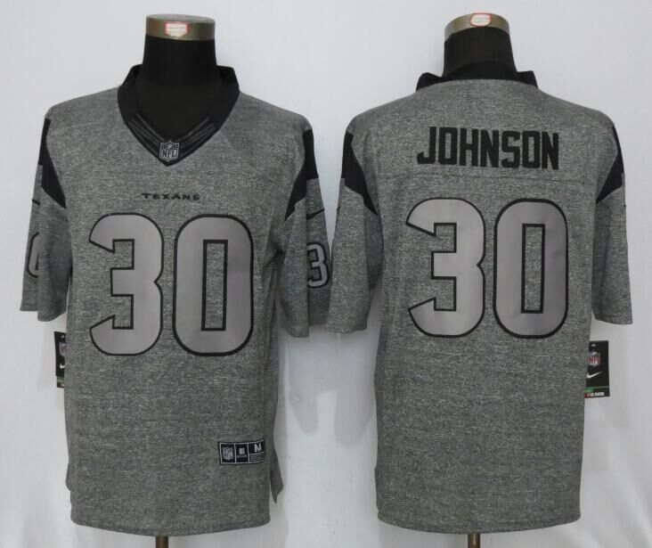 Houston Texans 30 Johnson Gray Men's Stitched Gridiron Gray New Nike Limited Jersey
