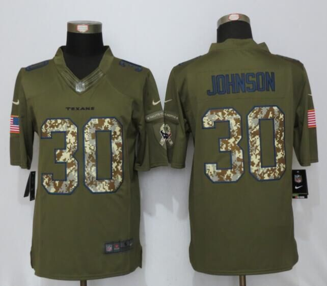 Houston Texans 30 Johnson Green Salute To Service New Nike Limited Jersey