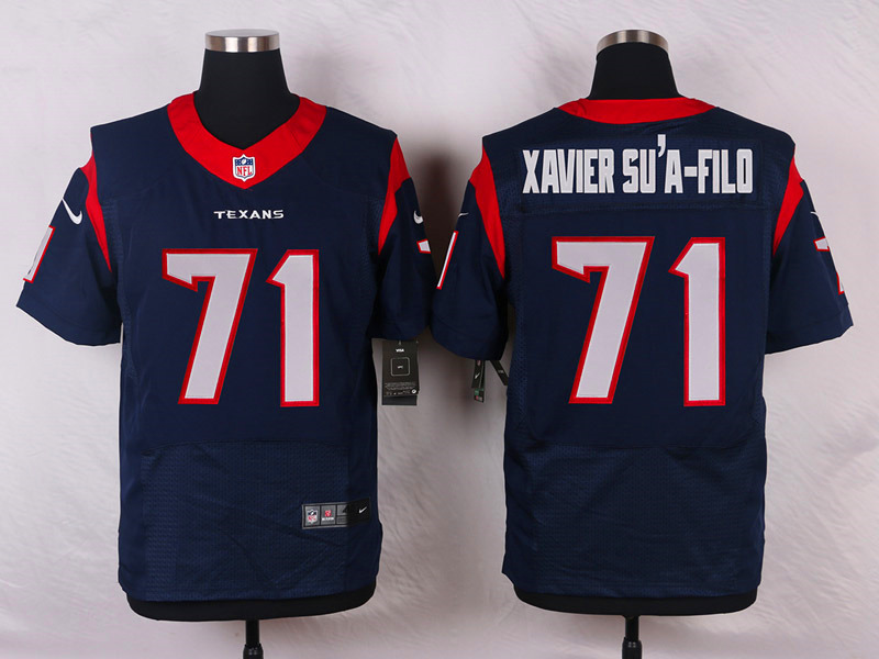 NFL Customize Houston Texans 71 Xaviersu'a-Filo Blue Men Nike Elite Jerseys