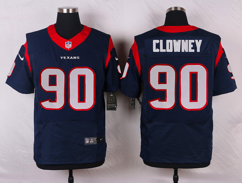 NFL Customize Houston Texans 90 Clowney Blue Men Nike Elite Jerseys