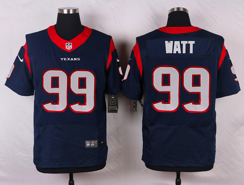 NFL Customize Houston Texans 99 Watt Blue Men Nike Elite Jerseys
