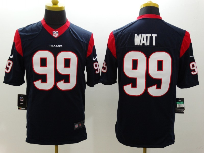 Houston Texans 99 Watt Blue Nike Limited Jerseys