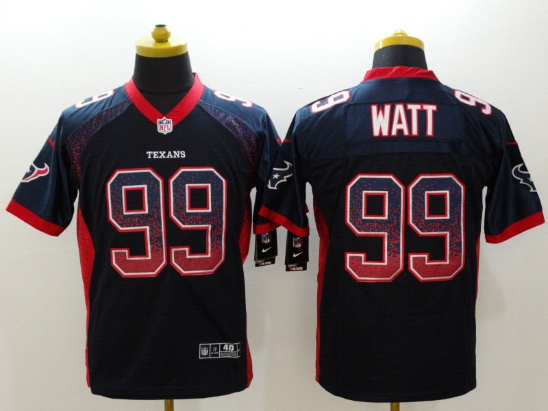 Houston Texans 99 Watt Drift Fashion Blue Nike Elite Jerseys
