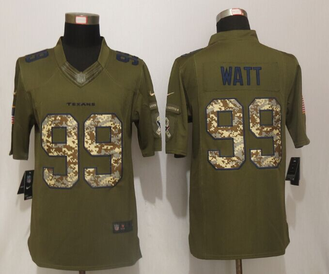 Houston Texans 99 Watt Green Salute To Service New Nike Limited Jersey