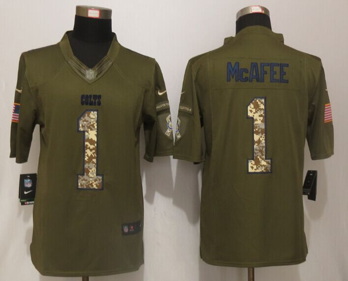 Indianapolis Colts 1 McAfee Green Salute To Service New Nike Limited Jersey
