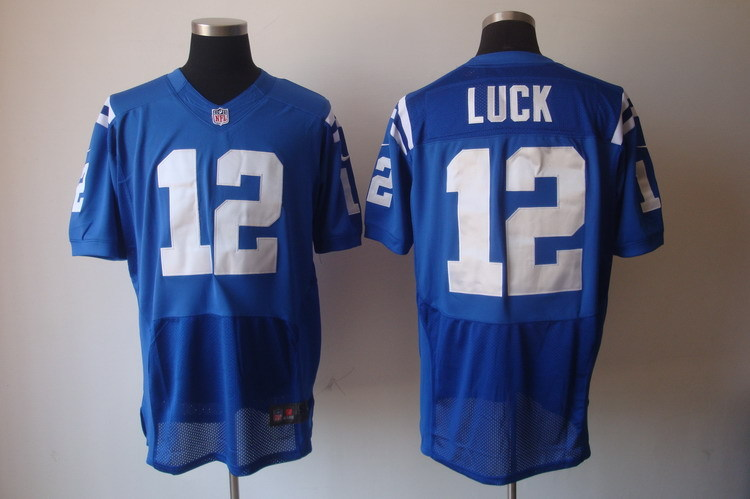 Indianapolis Colts 12 Luck Blue Nike Elite Jerseys
