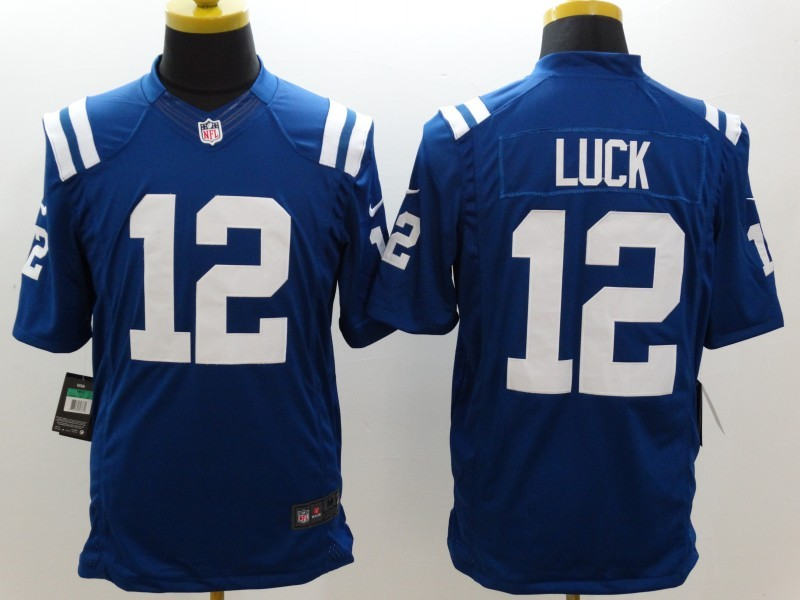 Indianapolis Colts 12 Luck Blue Nike Limited Jerseys