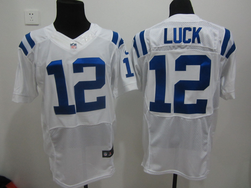 Indianapolis Colts 12 Luck White Nike Elite Jerseys