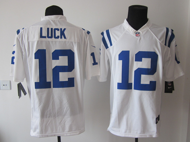 Indianapolis Colts 12 Luck White Nike Game Jerseys