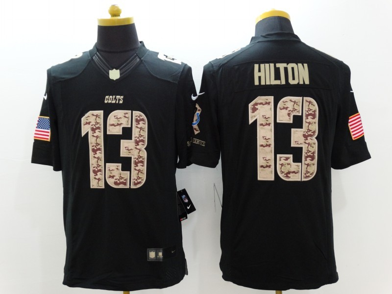 Indianapolis Colts 13 Hilton Black Nike Salute TO Service Jerseys