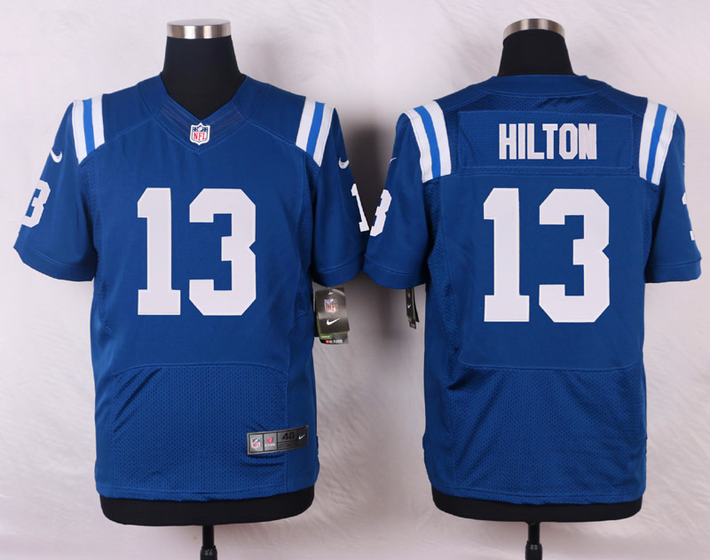 NFL Customize Indianapolis Colts 13 Hilton Blue Men Nike Elite Jerseys